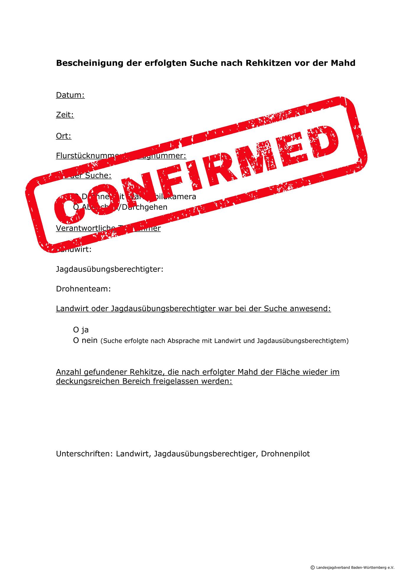 Microsoft Word – Bescheinigung der erfolgten Suche nach Rehkitze